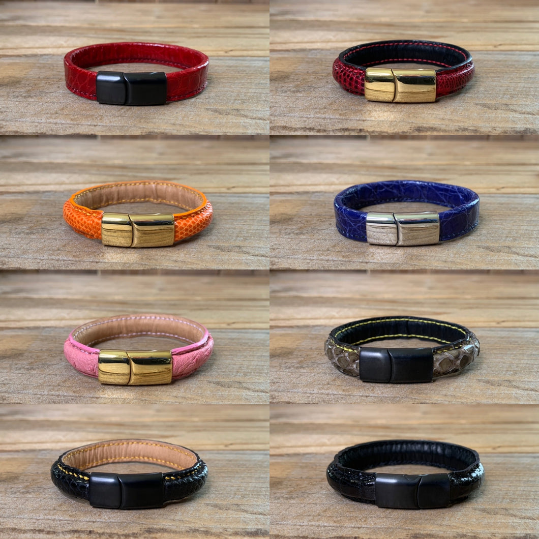 Magnetic Exotic Leather Bracelets | Sample Sale