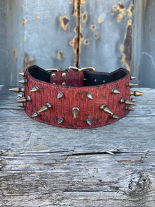 Reserved for K. M. | Custom Spiked Python Leather Dog Collar