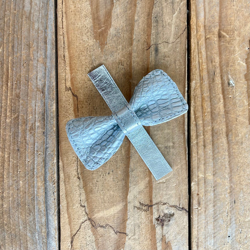 Silver Alligator | Exotic Leather Bow Tie | Small