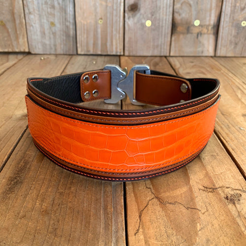 Mandarina | Alligator Skin and Italian Leather Quick Release Dog Collar