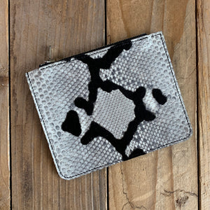 Black Velvet Natural | Mystery Python Leather Small Zipper Pouch