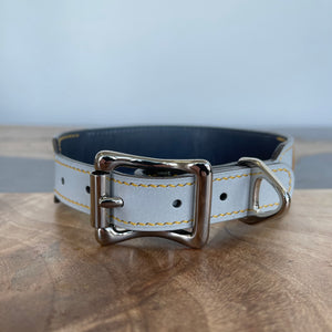 Pantone 2021 | American Alligator Leather Art Panel Dog Collar | 11-14""