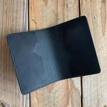 Black | Italian Leather Folding Card Holder