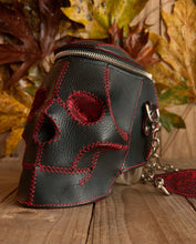 Italian Leather Skull Shoulder Bag with Stingray Accents