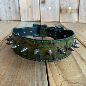 Swamp Green | Hand-Dyed Alligator Skin Spiked Dog Collar