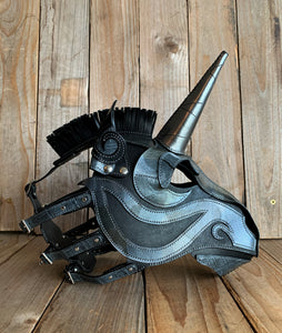 Unicorn | Leather Fetish Mask with Alligator Skin Accents