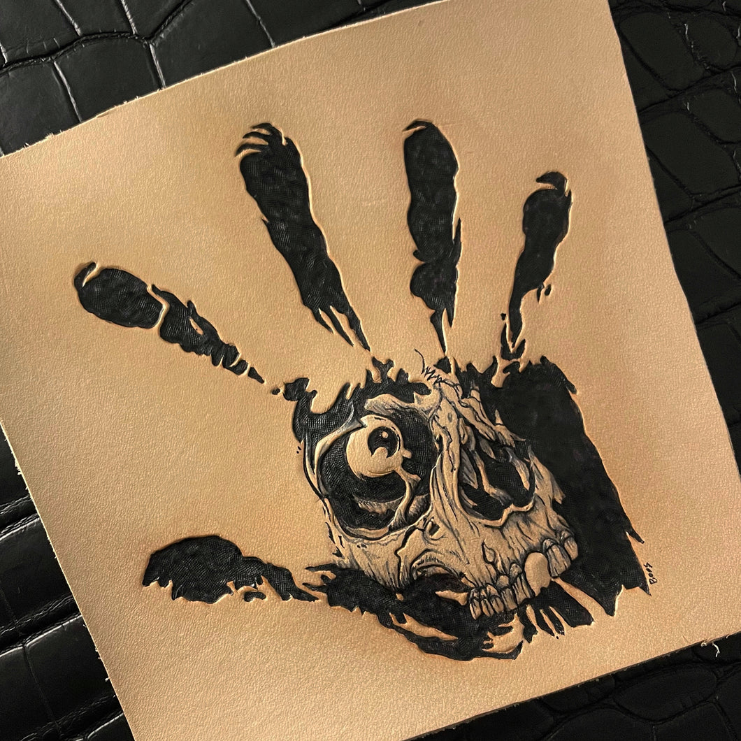 Hand of Fear | Hand-tooled and Dyed Leather Art