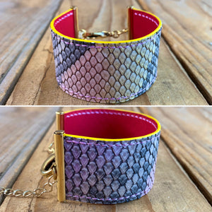 Python Leather Ribbon Bracelet | Gold Hardware