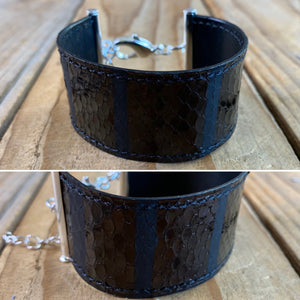 Mystery Python Leather Ribbon Bracelet | Silver Hardware
