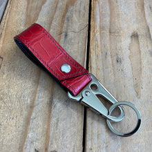 Ruby Red | Alligator Skin Key Lanyard with Tactical Clip
