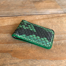 Green | Python Leather Magnetic Money Clip