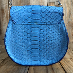 Blueberry | Python Skin Saddle Bag
