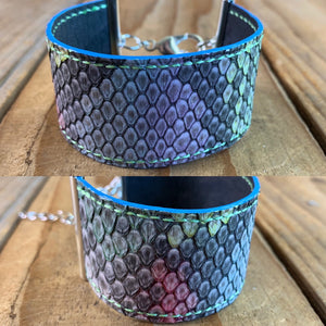 Python Leather Ribbon Bracelet | Silver Hardware