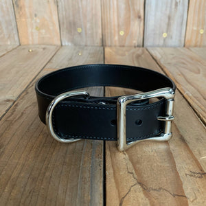 "Italian Leather Dog Collar | 1 1/4"" Buckle 