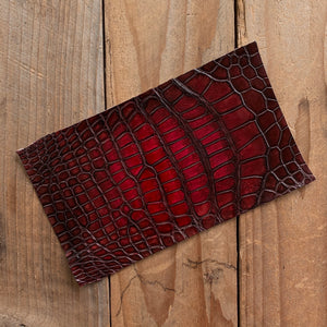 "Dark Cherry | Hand-dyed Alligator Skin Panel | 7.75"" x 4.5"""