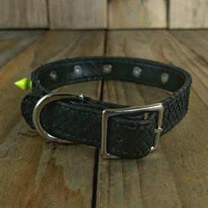 Matte Black | Spiked Python Skin Dog Collar with Kangaroo Leather Lining