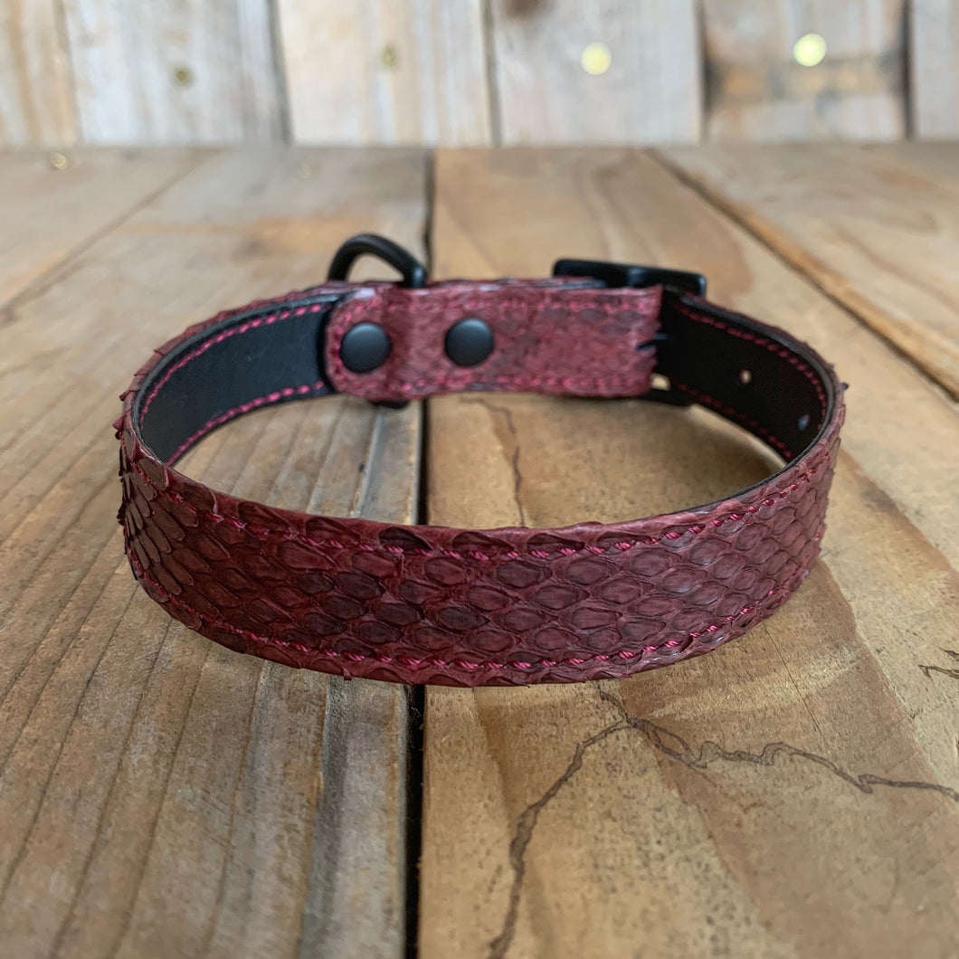 Burgundy | Python Skin Dog Collar