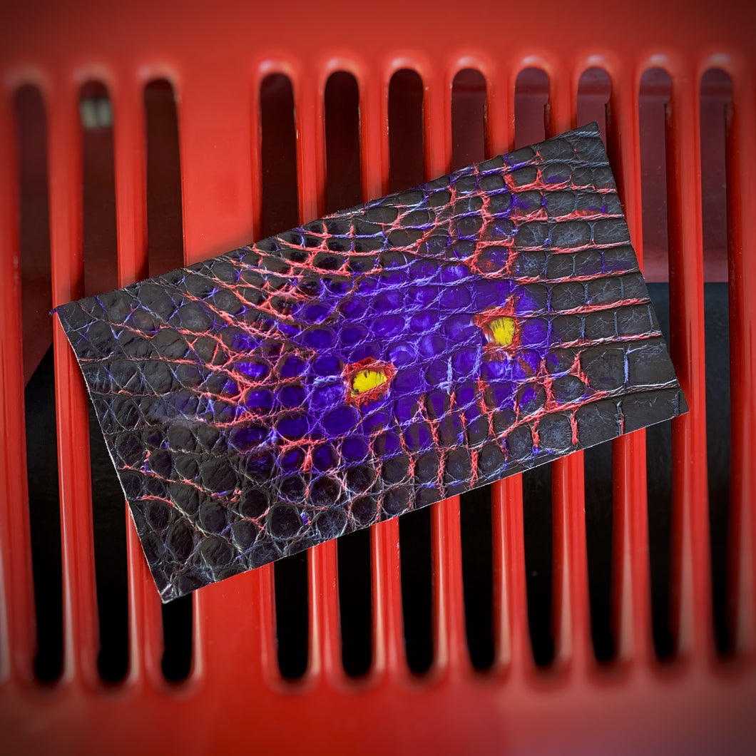"Cryptonic Speech Weaz | Hand-dyed Alligator Skin Panel | 5.5"" x 3"""
