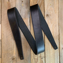 Black | Horween Leather Fixed Length Guitar Strap