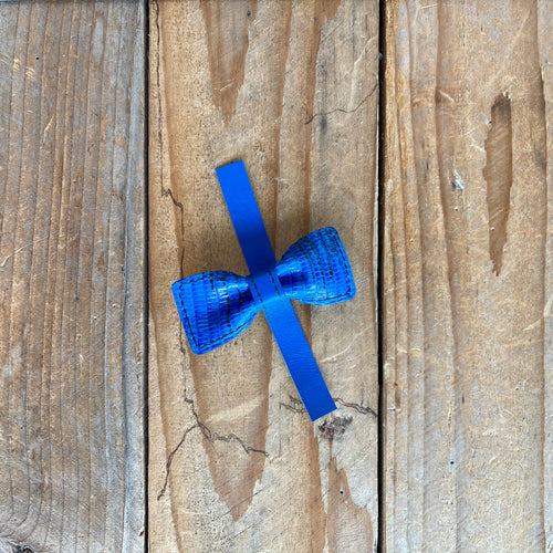 Electric Blue Lizard | Exotic Leather Bow Tie | Tiny