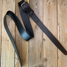 Black | Italian Leather Vintage Style Guitar Strap