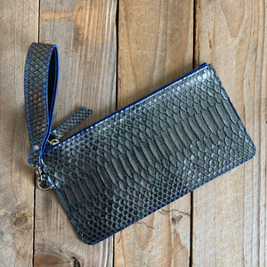 Gunmetal | Python Skin Zipper Clutch with Wristlet