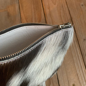 Black and White | Goat Hair Zipper Pouch Clutch