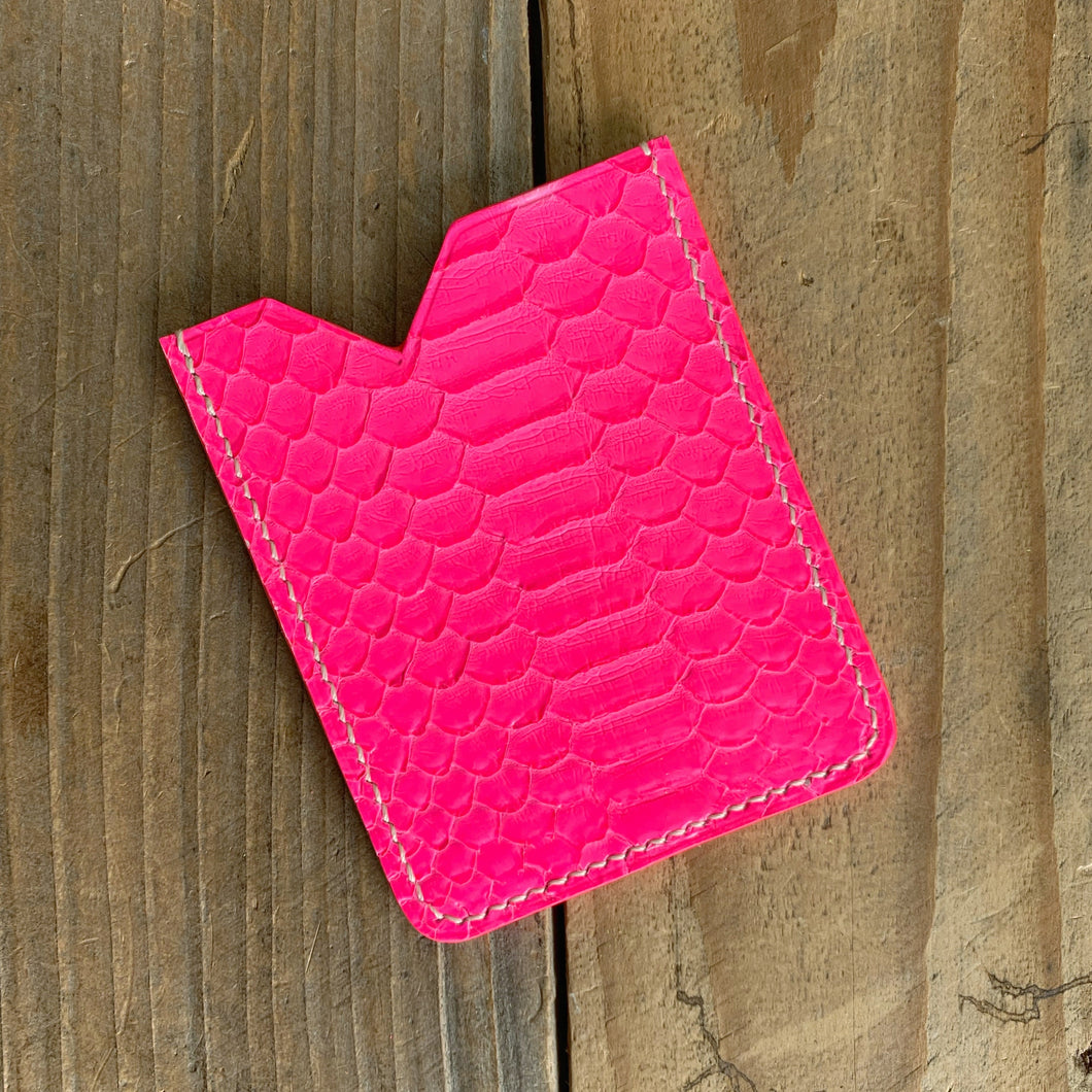 Neon Pink | Python Skin Micro Card Holder