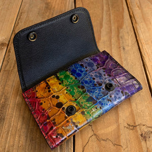 Blackened Rainbow | Hand-dyed Alligator Leather Snap Pouch