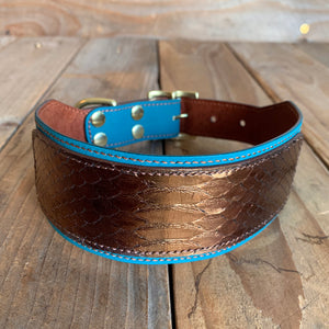 Bronze Ombré | Python Skin and Kangaroo Leather Dog Collar