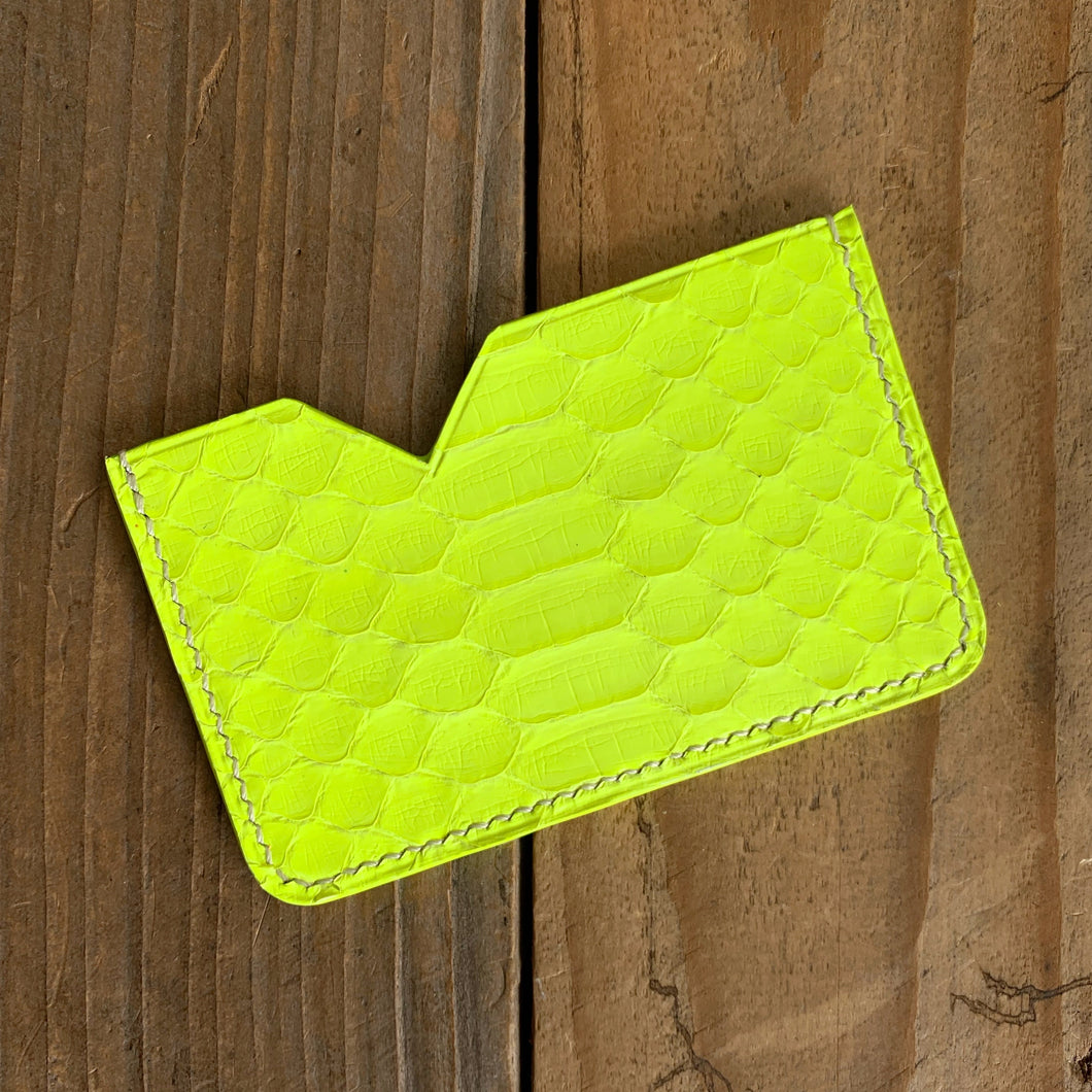 Neon Yellow | Python Skin Micro Card Holder