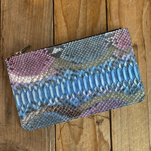Blush & Baby Blue | Mystery Python Leather Zipper Pouch