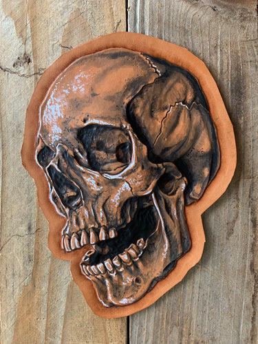 Skull | Hand Tooled and Dyed Leather Art Patch