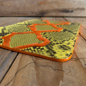 Yellow & Orange Velvet | Python Leather Zipper Pouch