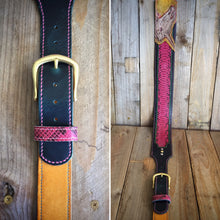 Unicorn Skull | Genuine Python Inlay and Italian Leather Adjustable Buckle Guitar Strap Featuring Hand-Tooled Signed Art