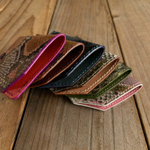 Mystery Python Leather Folded Micro Card Holders
