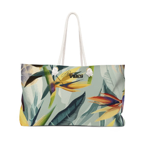Aloha Weekender Green Birds of Paradise Bag
