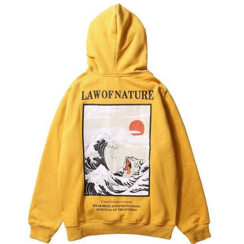 Japanese Embroidery Wave Hoodie