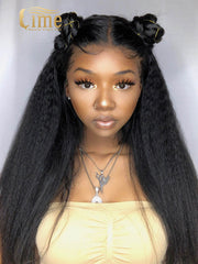 Virgin #1B 13x4 Kinky Straight 150% Density Lace Front Wig