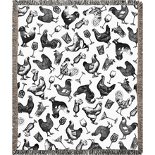 Load image into Gallery viewer, Chickens & Cocktails Toile Woven Blanket, Black & White