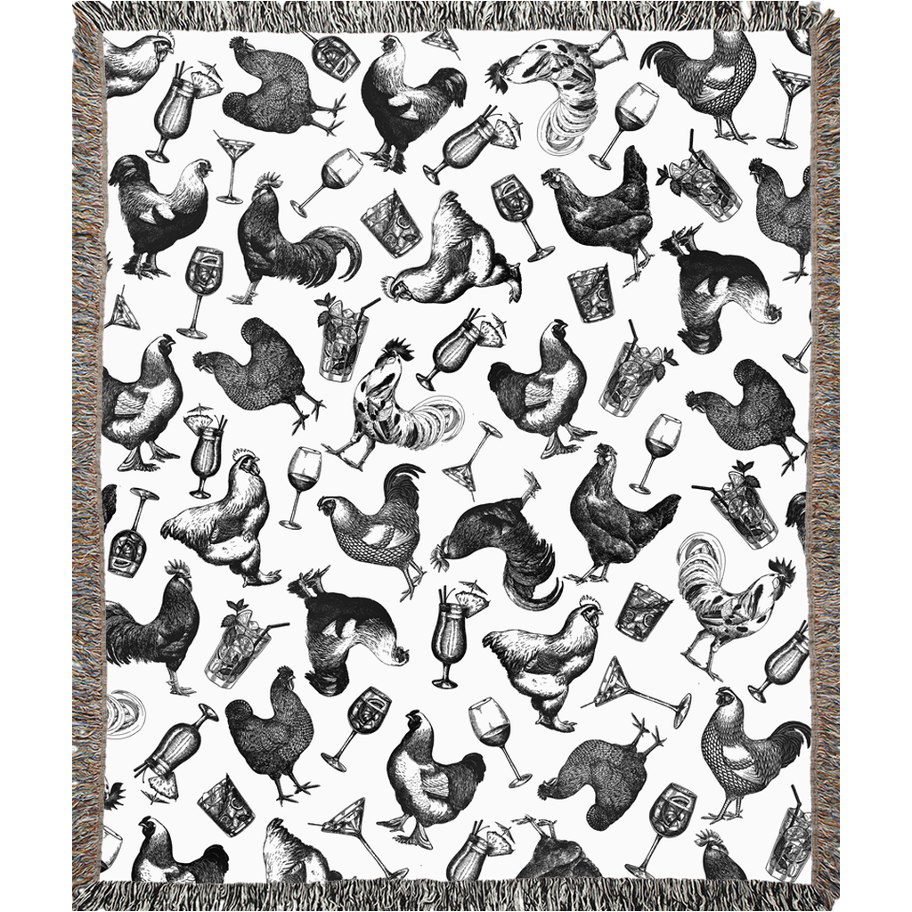 Chickens & Cocktails Toile Woven Blanket, Black & White