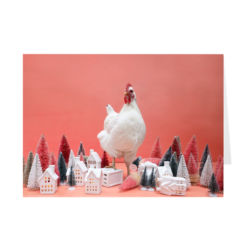 Chickenzilla in Christmas Village Notecards