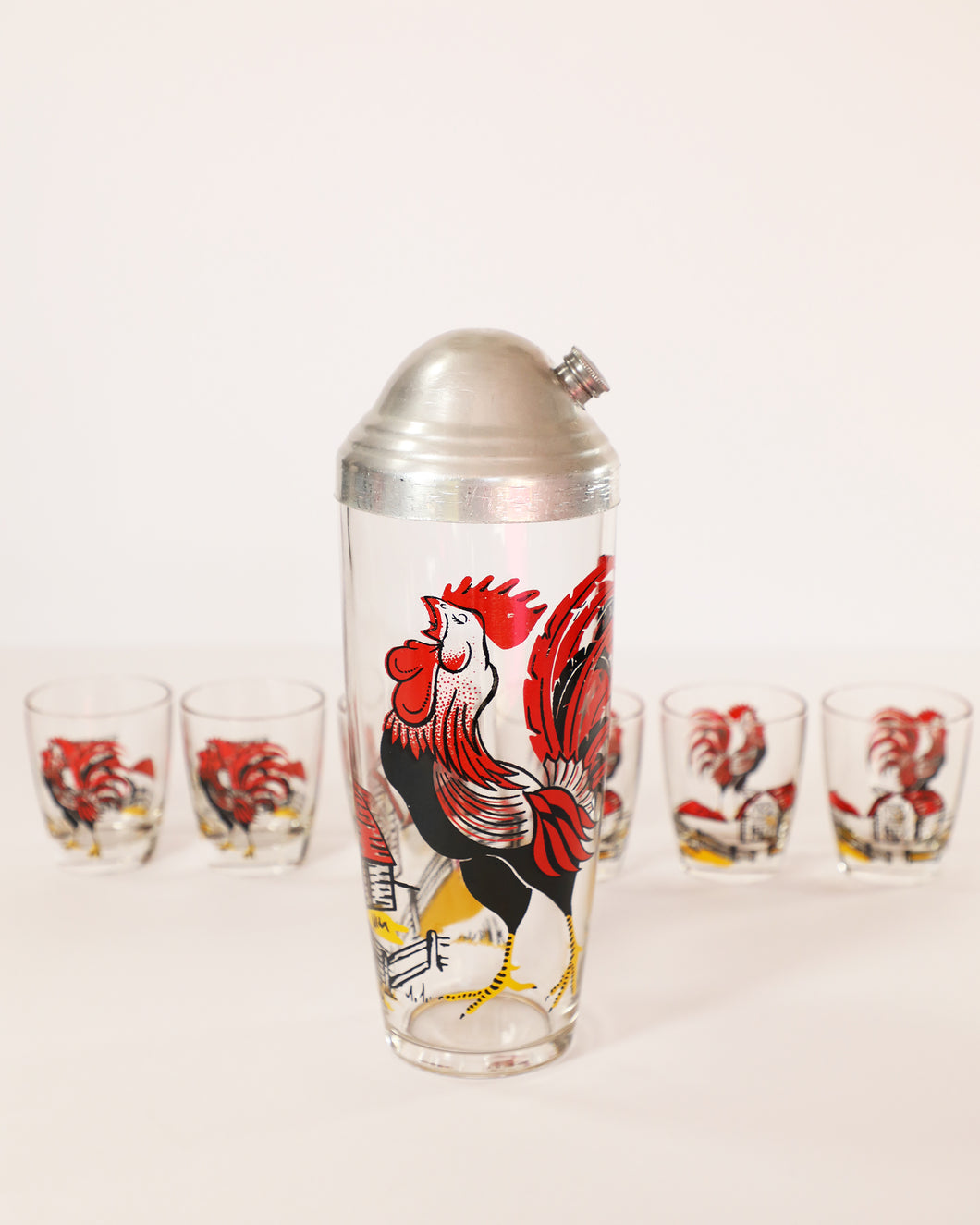 Barnyard Rooster Shaker and Shot Glass Set