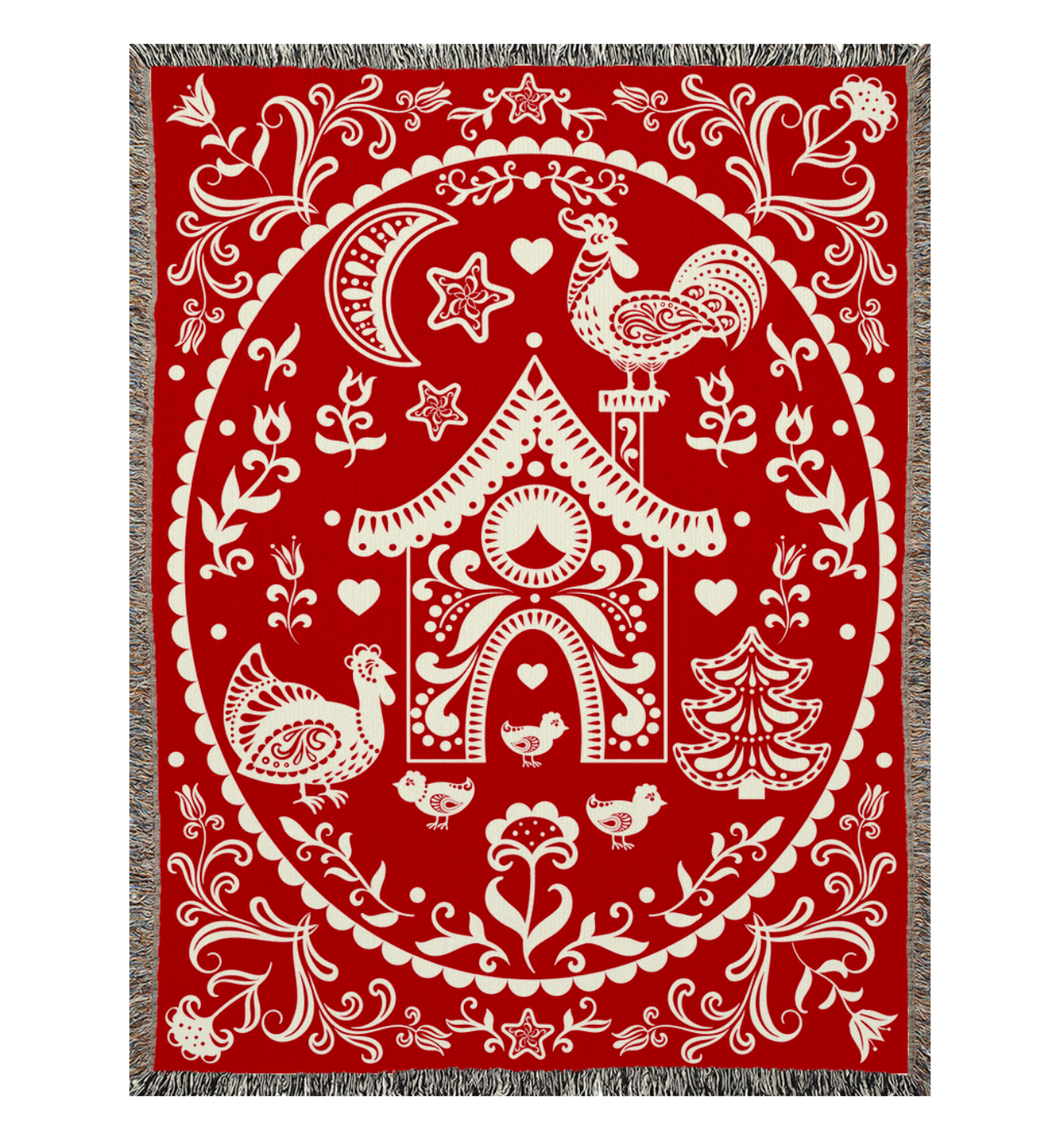 Chickmas Woven Blanket, red