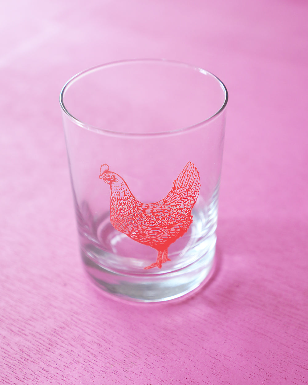 Coral Chicken Double Old Fashioned Glass