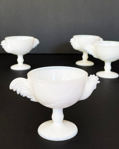 Vintage Milk Glass Chicken Coupes, set of 4