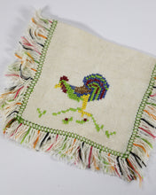 Load image into Gallery viewer, Vintage Rooster Embroidered Fringe Cocktail Napkins, set of 6