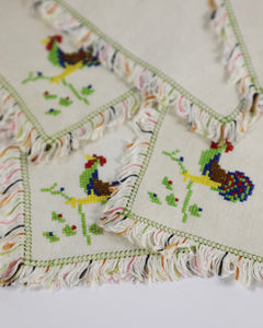 Vintage Rooster Embroidered Fringe Cocktail Napkins, set of 6