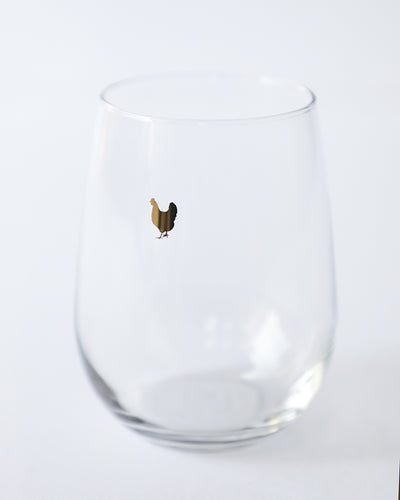 Golden Chicken Stemless Wine Glass