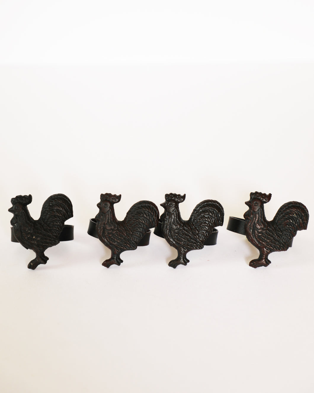 Cast Iron Rooster Napkin Rings, set of 4